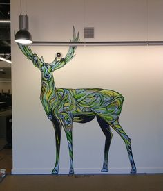 Ian Ross' deer murals for the Mountain View Google offices. via http://www.contemporist.com/2012/07/10/deer-at-the-google-office-by-ian-ross/