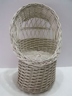 Doll Furniture  White Wicker Chair  Off White