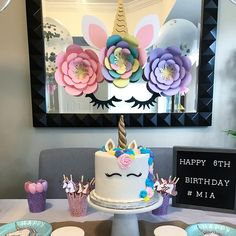 Happy 6th Birthday, Unicorn Birthday Parties, Unicorn Party, It's Your Birthday, Birthday Ideas, Paper Flower Wall, Paper Flower Backdrop, Paper Flowers Diy, Flower Diy