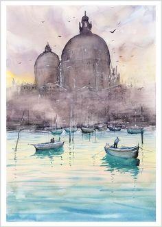 WILL ELLISTON Fine Art PRINT of Venice Italy Venetian Boats Watercolour Painting