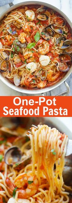 One Pot Seafood Pasta – easy seafood pasta cooked in one pot. Quick and delicious dinner that you can whip up in less than 30 mins | http://rasamalaysia.com
