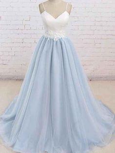 Simple Spaghetti Straps Light Blue A line Long Evening Prom Dresses 331103fc5a34