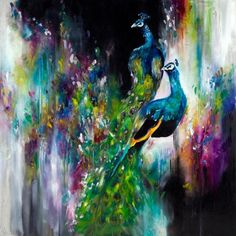 Opulent Peacocks (Original) by Katy Jade Dobson