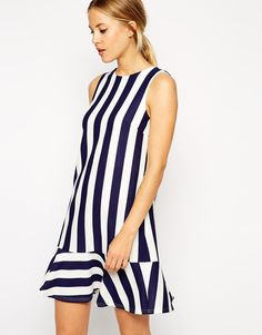 Buy ASOS Shift Dress with Peplum Hem in Stripe at ASOS. Get the latest trends with ASOS now. Best Prom Dresses, Unique Dresses, Casual Dresses, Short Dresses, Petite Outfits, Petite Dresses, First Date Dress, Stripped Dress, Ruffle Dress