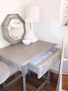 Vintage table with carved drawer, hand painted with Annie Sloane French Linen.