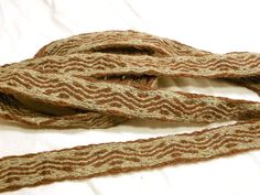 Wool, Linen, Silk Tabletwoven Trim - 3.5 yards - Brown. by fairesisters viking tablet woven belt sca re-enactment