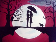 """Title- """"Background Noise"""" - Stretched Canvas Acrylic Painting - Red, Moon, Tree, Love via Etsy. Couple Painting, Silhouette Painting, Painting Inspiration, Painting & Drawing, Urban Art, Amazing Art, Watercolor Art, Illustration, Cool Art"""