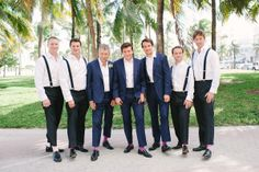 classicgroomsmen in navy with suspenders + colorful socks / photo: katielopezphotography.com