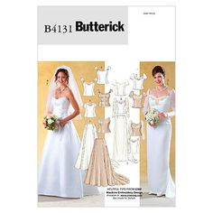 Buy Butterick Women's Wedding Top And Skirt Sewing Pattern, 4131 from our Sewing Patterns range at John Lewis & Partners. Free Delivery on orders over Wedding Dress Sewing Patterns, Skirt Patterns Sewing, Vogue Patterns, Mccalls Patterns, Skirt Sewing, Clothes Patterns, Queen, Sheer Fabrics, Elegant