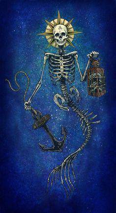 Lighting The Way by David Lozeau Skeleton Mermaid Canvas Art Print – moodswingsonthenet