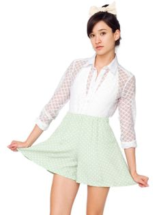 Stretch Lace Diamond Grid Long Sleeve Button-Up | Long Sleeves | Women's Tops | American Apparel