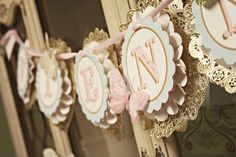 love this banner! The whole party is amazing! pastels, doiley, vintage , shabby chic-minus the butterflies