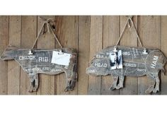 Butcher Charts Wall Hanging With Clips - From Antiquefarmhouse.com - http://www.antiquefarmhouse.com/current-sale-events/country3/message-board-butcher.html