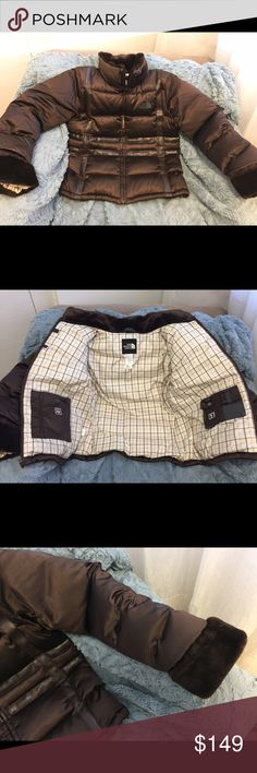 Sale! NorthFace Puffer 550 Down Furry Cuffs/Collar Beautiful North Face chocolate brown 550 Down coat.  New but no tags.  Features fluffy Cuffs and collar, accent fabric, pockets in and out.  Fabulous !  Price just reduced from $149 because I'm ready for spring !!! North Face Jackets & Coats Puffers