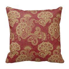 Burgundy Red And Beige Floral Swirls Design Pillow