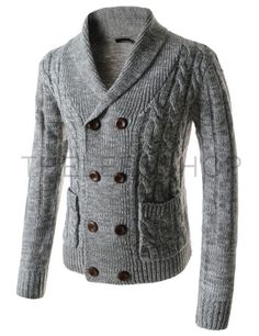 (TNC05-GRAY) Slim Fit Shawl Collar Double Breasted 8 Button Twist Knitted Cardigan