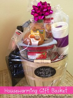 Home Sweet Home - Housewarming Gift Basket gift basket basket basket Homemade Gift Baskets, Housewarming Gift Baskets, Homemade Gifts, Basket Gift, Diy Gifts For Mom, New Home Gifts, Cute Gifts, Best Gifts, Creative Gifts