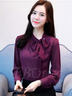 Bowknot Stand Collar Single-Breasted Women's Blouse Bowknot Stand Collar Single-Breasted Women's Blouse Blouse Styles, Blouse Designs, Hijab Fashion, Fashion Dresses, Blouse Sexy, Kurta Patterns, Casual Skirt Outfits, Satin Blouses, Ladies Dress Design