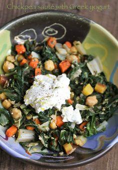 Flour.ish.en Test Kitchen: Chickpea & Swiss Chard Sauté with Greek Yogurt