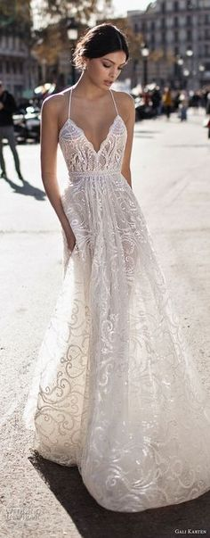 "Gali Karten 2017 Wedding Dresses — ""Barcelona"" Bridal Collection gali karten 2017 bridal spaghetti strap halter neck deep sweetheart neckline full embellishment elegant romantic soft a line wedding dress sweep train zv Trendy Wedding, Wedding Styles, Dream Wedding, Perfect Wedding, Elegant Wedding, Wedding Colors, Sophisticated Wedding, Rustic Wedding, Wedding Simple"