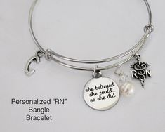 RN.  Bangle Bracelet.  She Believed She by JewelryImpressions