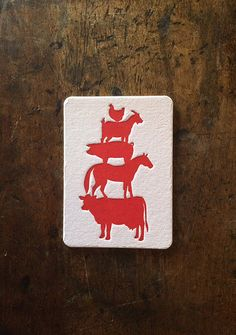Letterpress Coasters | Drink Coasters | Beer Coasters | Farm Animals | Born in a Barn | Cow Horse Pig Goat Chicken | Red | Set of 6