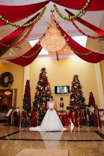 christmas wedding decor #Christmas #Wedding There is so much red in all these Christmas weddings. We'd need to add the blue, gold, and green!