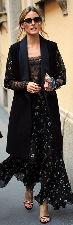 Who made Olivia Palermo's black sleeveless coat, lace floral maxi dress, and tie gold sandals?