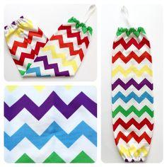Plastic Bag Holder/ Grocery Bag Holder/ Bag Dispenser - Rainbow Chevron by NatcessoriesShop on Etsy