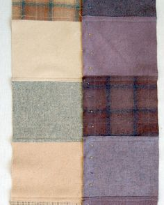 Felted Wool Patchwork Throw - The Purl Bee - Knitting Crochet Sewing Embroidery Crafts Patterns and Ideas! Wool Quilts, Wool Fabric, Sweater Quilt, Sweater Blanket, Recycled Sweaters, Wool Sweaters, Felt Squares, Purl Bee, Felted Wool Crafts