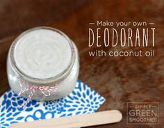 Homemade Deodorant with Coconut Oil  ingredients:  1/2 c. baking soda  1/2 c. arrowroot powder  5 tbs unrefined coconut oil  20 drops of grapefruit essential oil