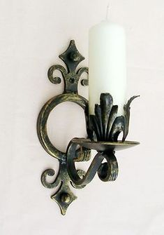 WROUGHT IRON CANDLE WALL SCONCE/HOLDER LARGE H/WEIGHT | eBay #BatteryPoweredWallSconce