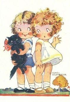 vintage illustration by Agnes Richardson - children with black cat
