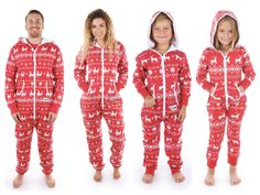 Matching Family Pajamas Red Reindeer Jumpsuit