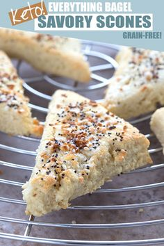 Savory keto scones with everything bagel seasoning! Get your bagel fix with these easy and delicious low carb grain-free scones. Keto Crackers Recipe, Easy Keto Bread Recipe, Lowest Carb Bread Recipe, Bread Recipes, Keto Recipes, Healthy Recipes, Protein Recipes, Recipe Breadmaker, Lunch Recipes
