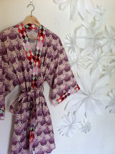 Kimono Inspired Robe - Bath Robe - Getting Ready Robe - Knee Length - Sea of Tears by auppleaupple