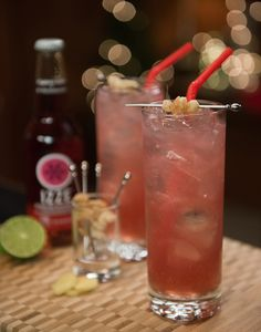 IZZE Grizzly Berry: 3 coins of peeled fresh ginger, 2 OZ. gin, ½ OZ. fresh squeezed lime juice, two dashes bitters, 3 OZ. IZZE Sparkling Blackberry, candied ginger for garnish