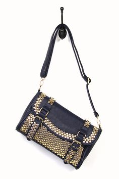Gold Studded Bag in Navy