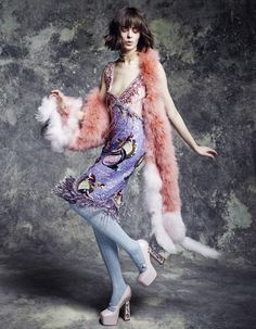 Miu Miu SS14 dress and shoes | Sonia Rykiel Marabou feather scarf | Elle France
