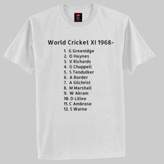 World cricket XI 1968 - - Special - Hanes Classic T World Cricket, My Love, Classic, Sports, My Boo, Hs Sports, Sport, Classical Music