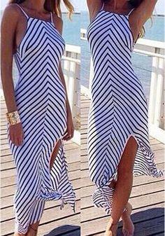 White-Black Striped Condole Belt Irregular Backless Cotton Maxi Dress - Maxi Dresses - Dresses