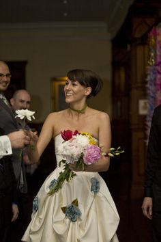 Collect your bouquet as you walk down the isle. Fun wedding idea.