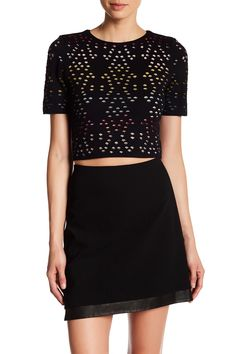 alice   olivia Ines Multicolor Pointelle Knit Crop Shirt