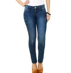 Calça feminina em jeans modelo Skinny