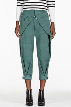 Band Of Outsiders Green Winged Military Trousers for women | SSENSE