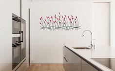 Metall Wandskulptur 'Verspielte Blumen' 56x124x6cm