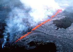 An erupting wall of magma