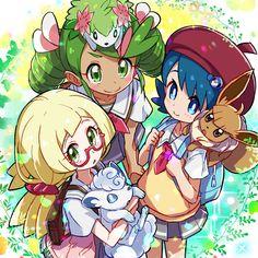 magical girls Pokémon sun and moon mallow(lulu),Lana(Vitória),Lillie Pokemon Human Characters, Pokemon Tv, Pokemon People, Pokemon Fan Art, Cool Pokemon, Pokemon Stuff, Pokemon Mallow, Pokemon Original, Chibi
