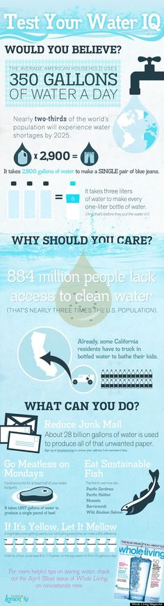 World Water Day 2012: How Much Water Do You Use Every Day?  ** I am somewhat of a Water Nazi and Hate it when people waste it. I have a 4 minute timer in my shower.