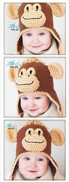 Monkey Hat Crochet Pattern, Animal Hat for Kids, Earflap Hat